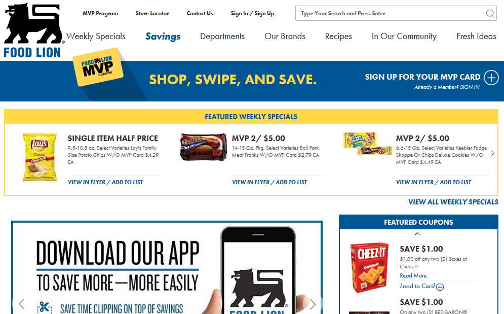 Ad Page at FoodLion.com