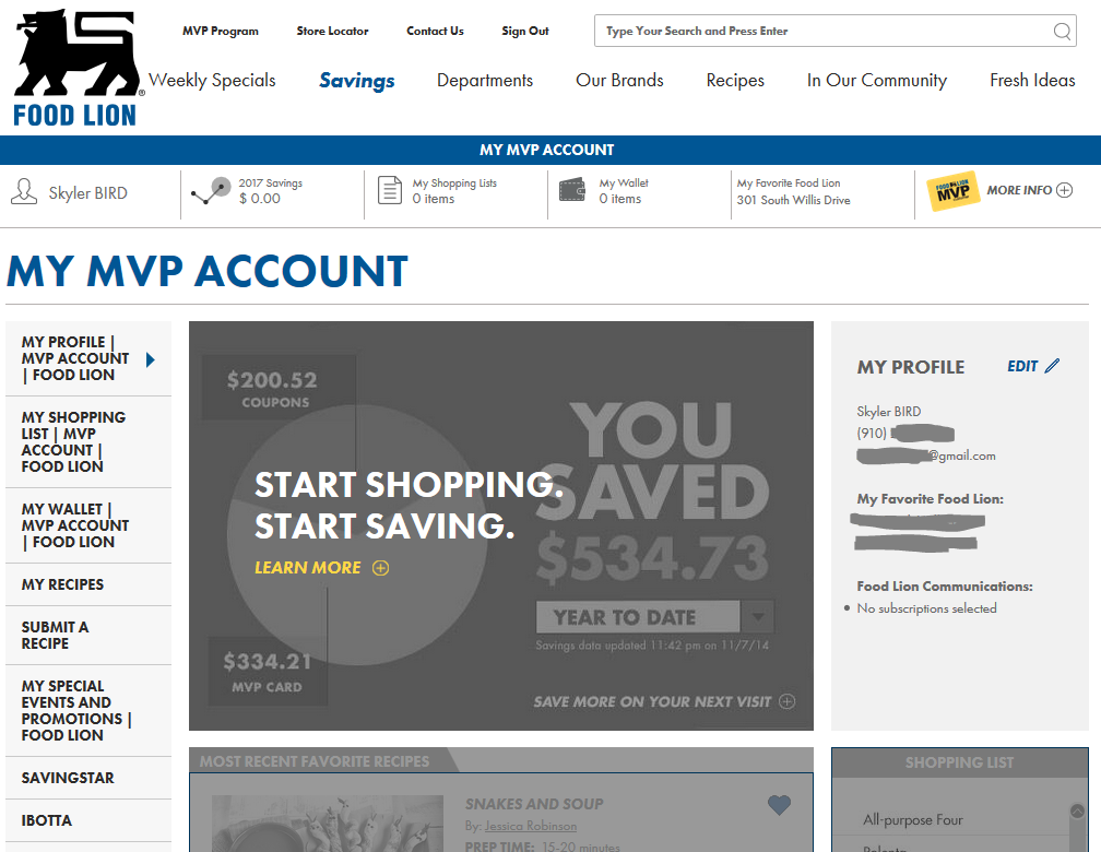 The First Screen of FoodLion.com after signing in