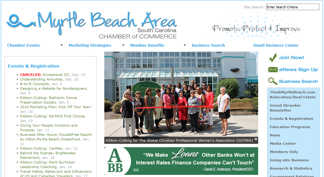 The Myrtle Beach Chamber of Commerce page is a cluttered disaster